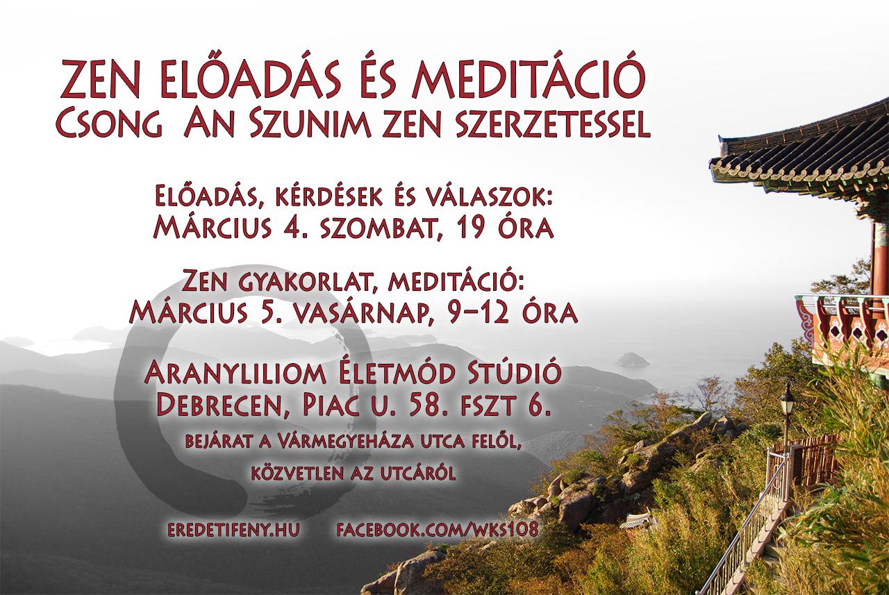 ZEN előadás és meditáció Csong An Szunim zen szerzetessel Debrecenben