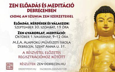 ZEN Dharma beszéd és meditációs gyakorlat Debrecenben – 2017 szeptember 30-án és október 1-én