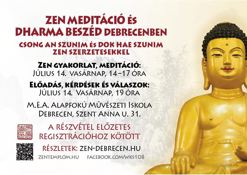 ZEN előadás és meditáció Dok Hae Szunim zen szerzetessel Debrecenben